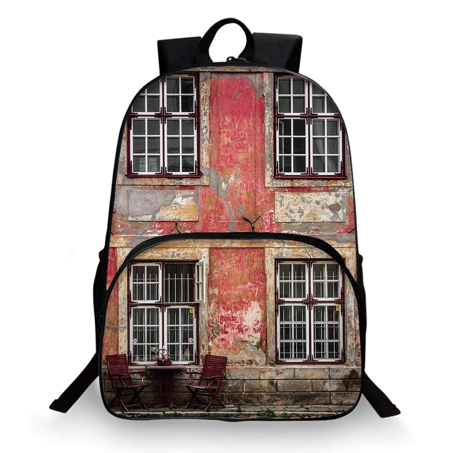 Urban Various Schoolbag,Medieval European Structure Nordic Old City Travel Ancient Landmark Decorative for student,11''Lx6''Wx15''H by C COABALLA