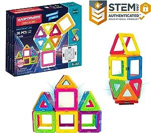 Magformers Neon (26 Piece) + Bonus Light MagneticBuildingBlocks, EducationalMagneticTiles Kit, MagneticConstructionSTEM Toy Set