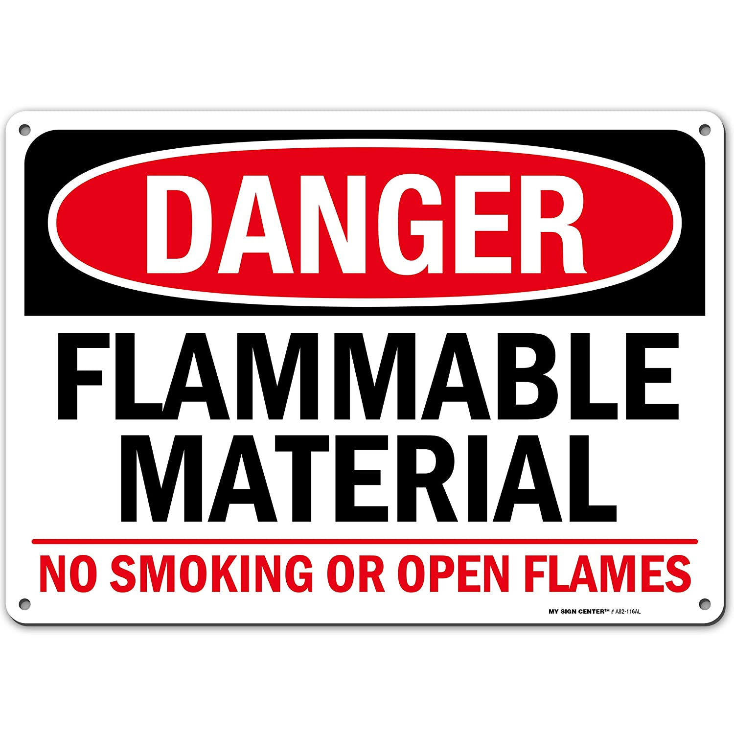 "Danger Flammable Material No Smoking Fire Hazard Sign, 10"" x 14"" Industrial Grade Aluminum, Easy Mounting, Rust-Free/Fade Resistance, Indoor/Outdoor, USA Made by MY SIGN CENTER"