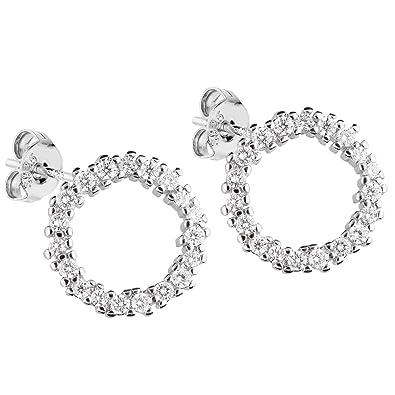 großartiges Aussehen meistverkauft Markenqualität LÖB Damen Ohrstecker 925 Sterling Silber mit Zirkonia 13mm Strass Steinen  Klein Runde Ohrringe Kreis Ringe Offen LSIO122