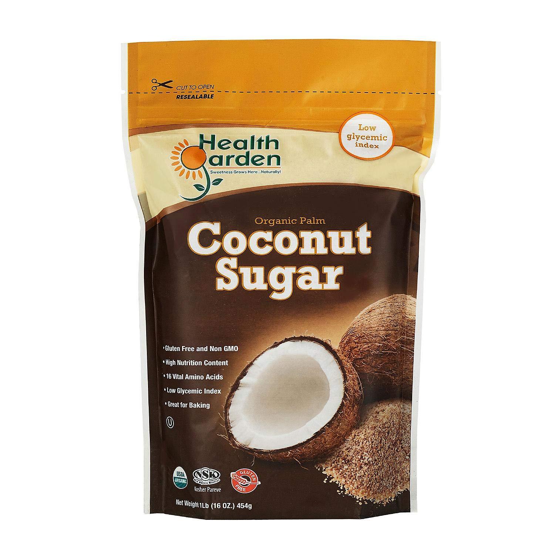 Health Garden Coconut Sugar - Gluten Free - Organic - Non GMO - Kosher - Keto Friendly (1 lb)