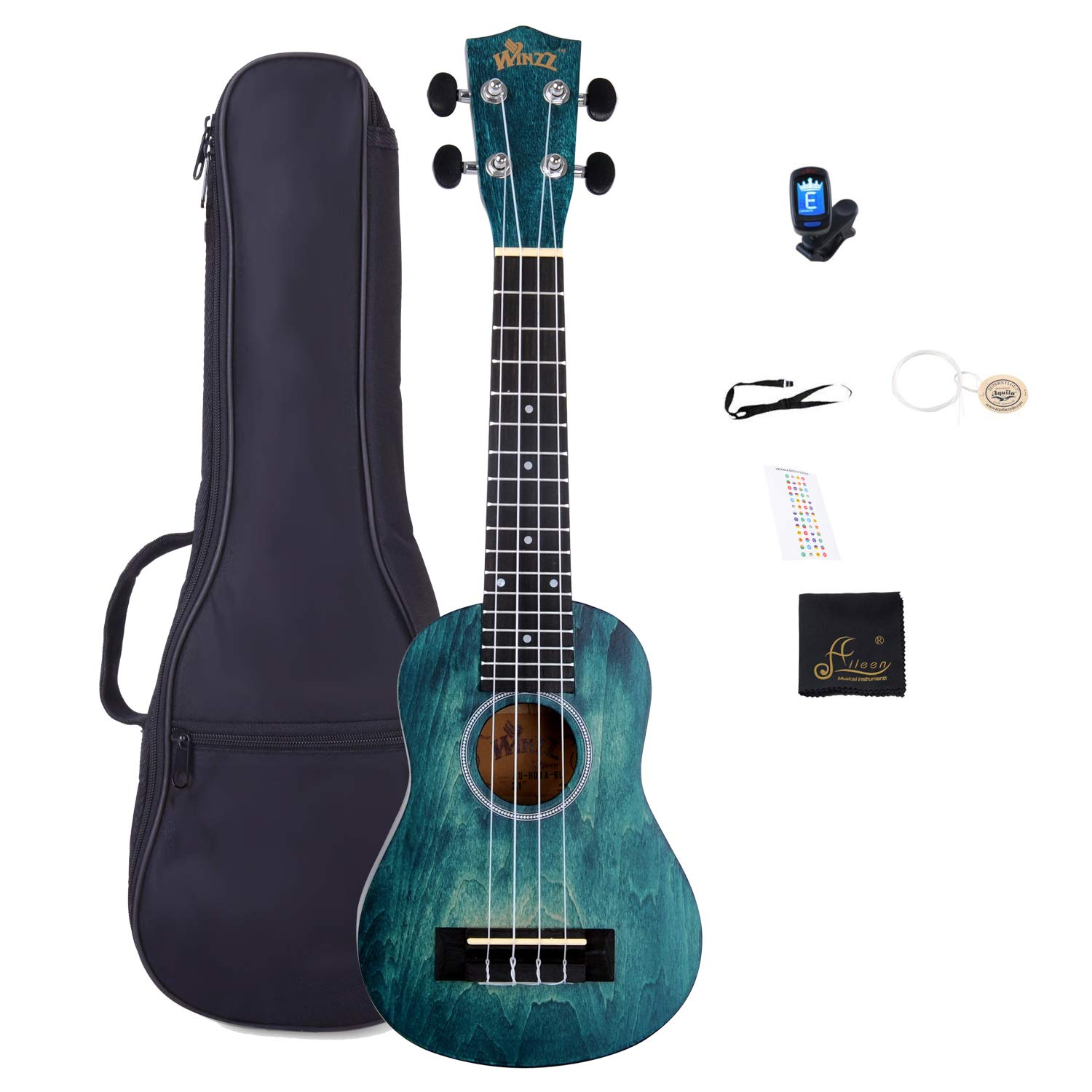 Soprano Vintage Hawaiian Ukulele WINZZ 21-inch with Bag, Tuner, Strap, Extra Strings, Fingerboard Sticker