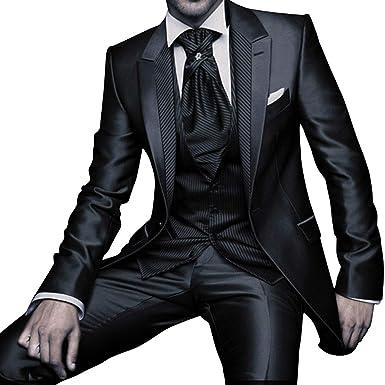 e3338144816d YSMO Herren Slim Fit 2-Knopf-3-Stück-schwarze Anzugjacke   Weste   Hose  Business Blazer  Amazon.de  Bekleidung