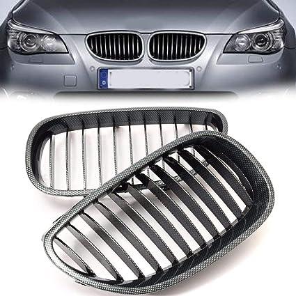 Grille For BMW E60 E61 2003-2010 Pair Carbon Fiber Front Center Bumper