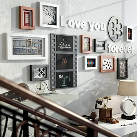 TING- 10 Multi Picture Frame Set Estilo Industrial Madera Negro Blanco Rojo-marrón DIY Foto Cuadro Pared Cuadro Combinación Escalera Pintura decorativa, 154 * 67cm (Color : #A) : Amazon.es: Hogar