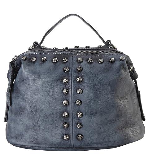 c303d3d4f1c2 Diophy Genuine Leather Floral Studded Décor Medium Top Handle Womens Purse  Handbag 150388