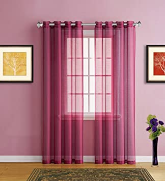 Warm Home Designs Burgundy Red Sheer Window Curtains With Grommet Top For  Bedroom, Kitchen,