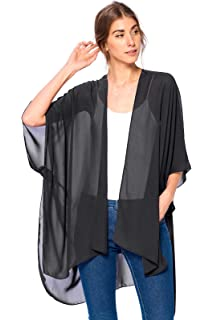 Escalier Women/'s Yellow Light Loose Chiffon Sheer Kimono Cardigan Blouses,4