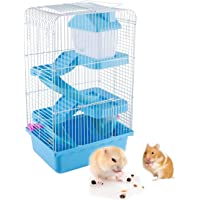 Gluckluz Hamster Cage Small Animal House Three Story Habitat Big Starter Room with Wheel Food Dish Water Bottle Slide…