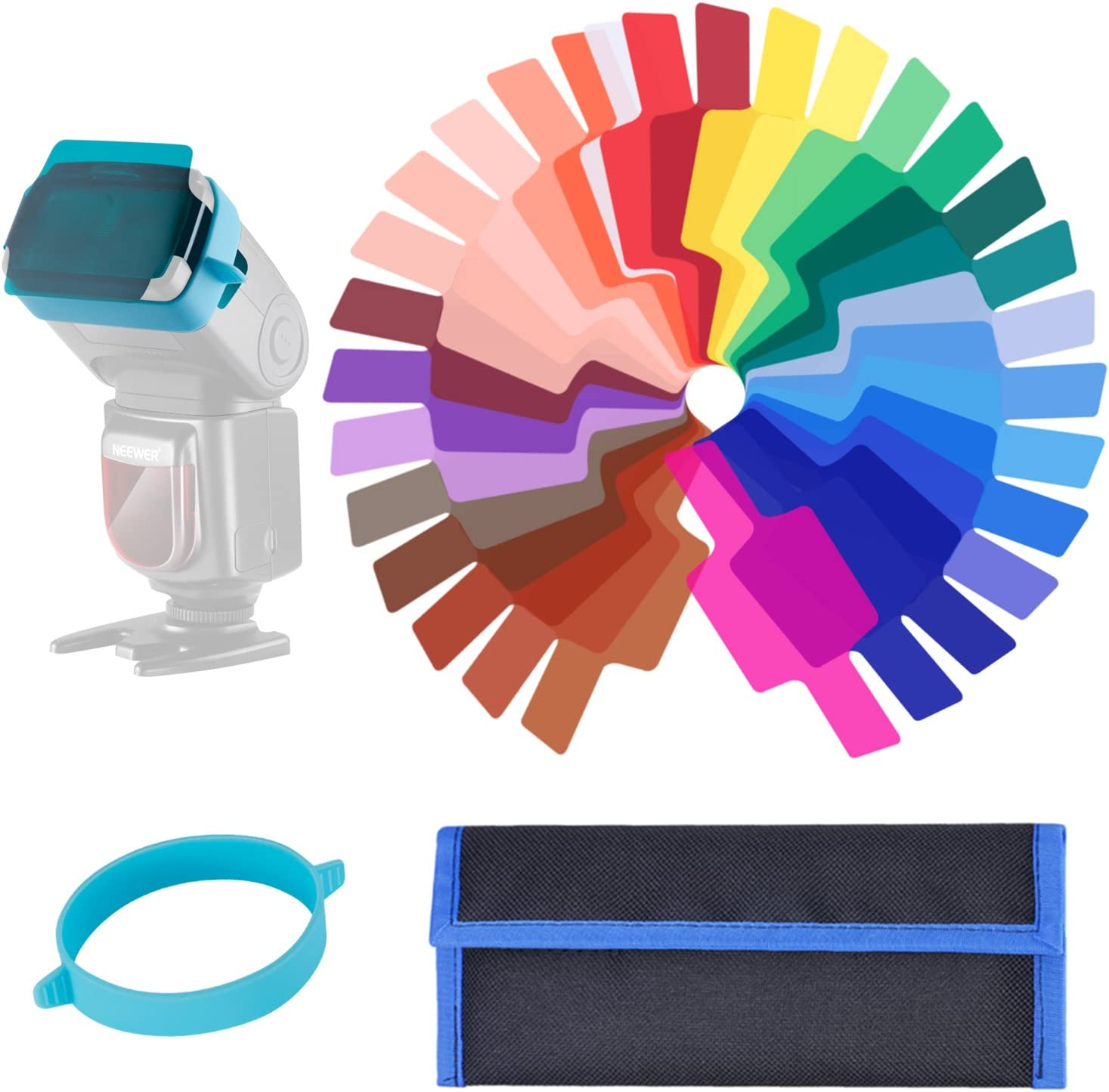 Transparent Color Correction Lighting Film Plastic Sheets with One Attachment Band for Photo Studio Strobe Flash Light Neewer 30 Pieces Camera Flash Speedlite Lighting Color Gel Filter Kit