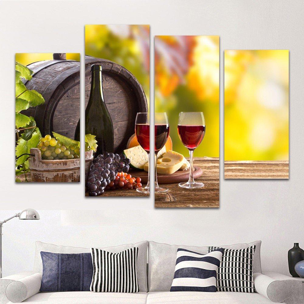 Amazon.com: 4 Panel Wall Art Wine Grape Barrel Canvas Painting ...