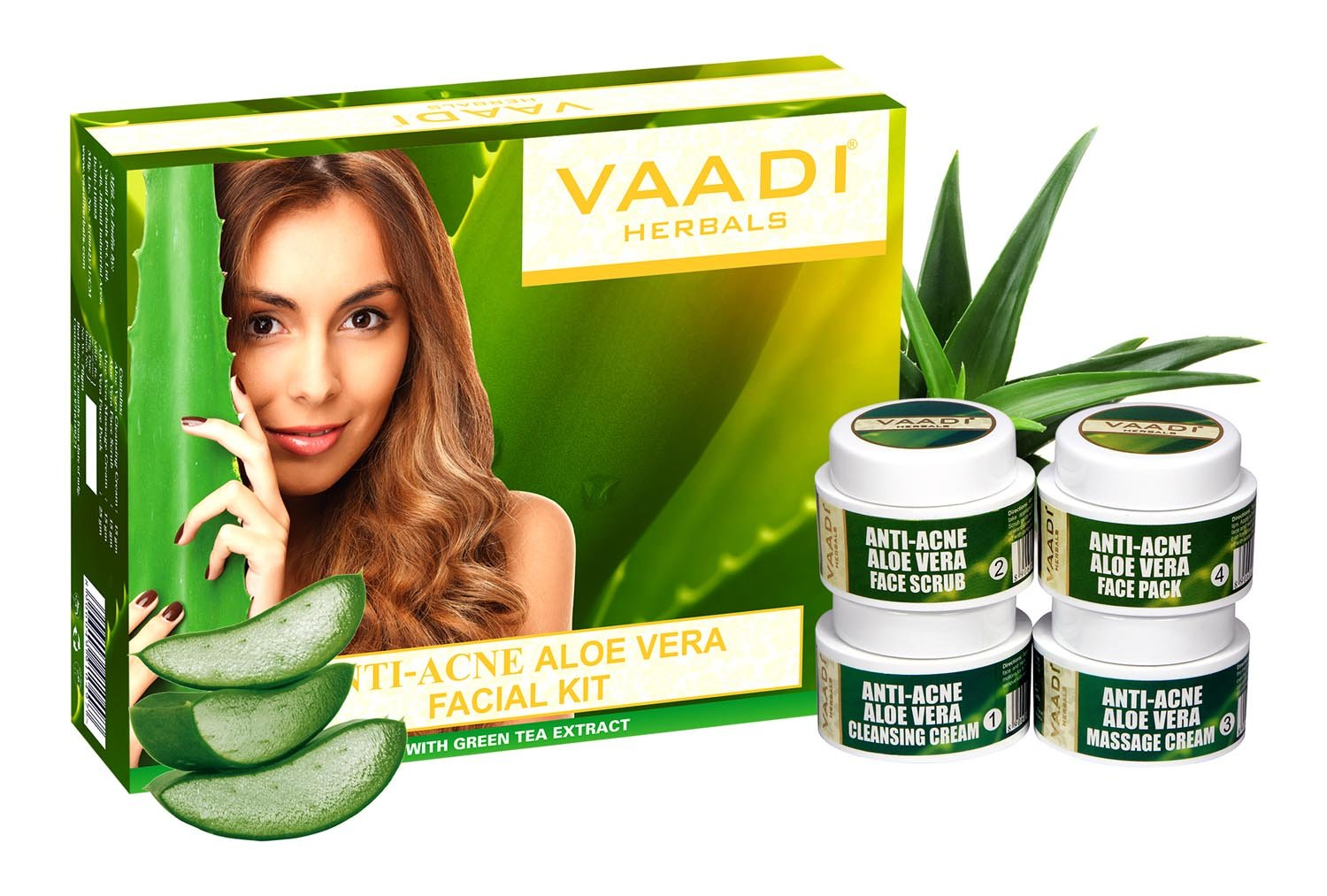 Vaadi Herbals Facial Kit - Aloe Vera Facial Kit With Cedarwood Oil, Grapeseed & Turmeric Extract All Natural Suitable For All Skin Types And Both For Men And Women 70 Grams -