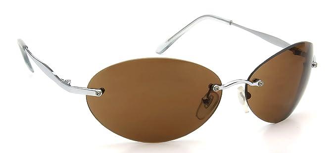 9f53dddc254 Amazon.com  Womens Rimless Oval Sunglasses Brown Lens Silver ...
