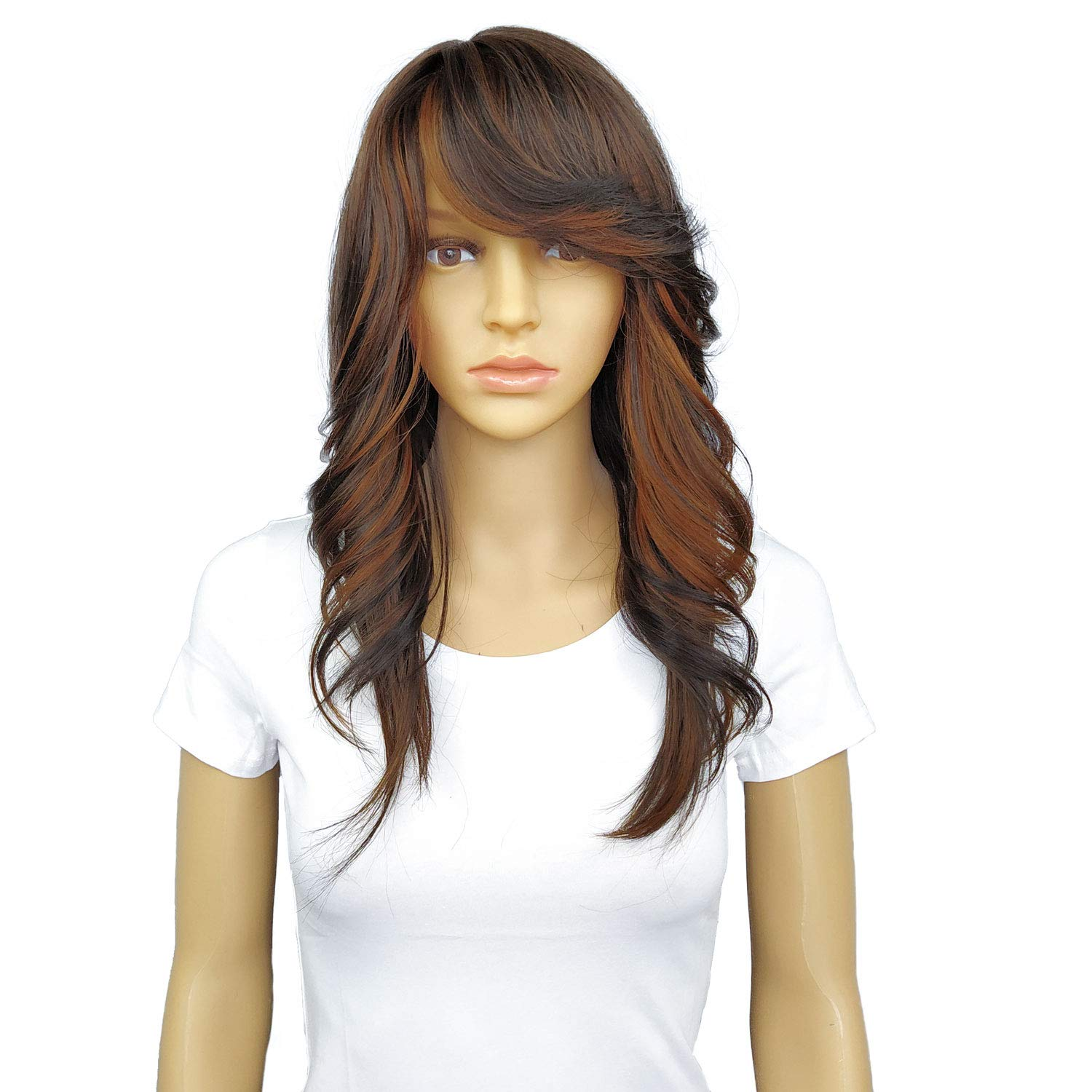 Wig female long wave curly all bangs synthetic wig natural realistic heat resistant artificial fiber a variety of colors available wigs for black women (Black mix Brown)