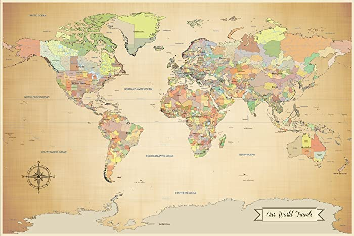 Amazon Com Push Pin World Map World Map With Pins Antique Look