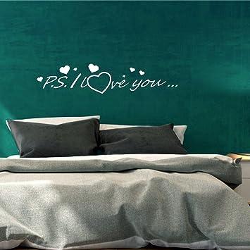Greenluup ® Wandtattoo Schlafzimmer Herz Liebe P.s. I Love You In Weiß