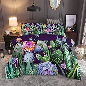 Erosebridal Cactus Printed Pattern Bedding Set Twin Size Hand Painted Style Duvet Cover Set Nature Art Prints Comforter Cover Green Plants Cactus Print Quilt Cover for Teen Kid Adult