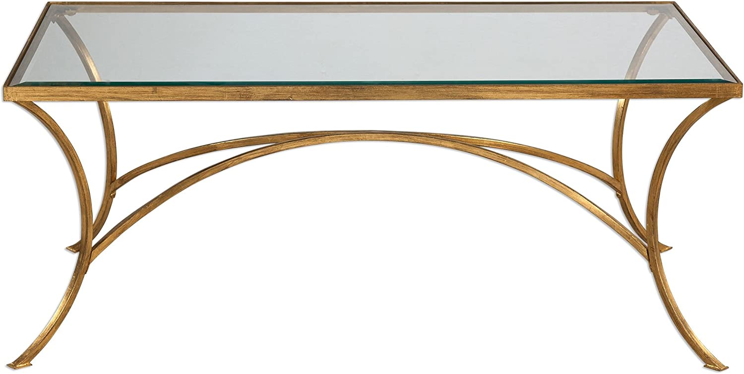 MY SWANKY HOME Minimalist Gold Arch Coffee Table | Metal Glass Top Elegant Modern Contemporary
