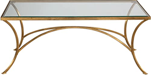 Intelligent Design Minimalist Barstow Coffee Table Glass Gold Iron Frame