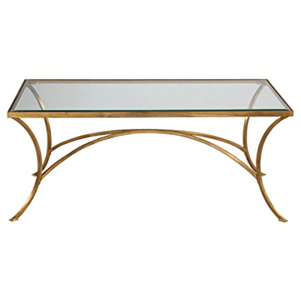 Minimalist Gold Arch Coffee Table | Metal Glass Top Elegant Modern  Contemporary