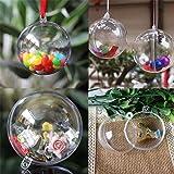 StillCool Palla di plastica Acrilico trasparente Fillable palla ornamento di plastica Palla di Natale Ornamentale Set 12 PCS (6cm)