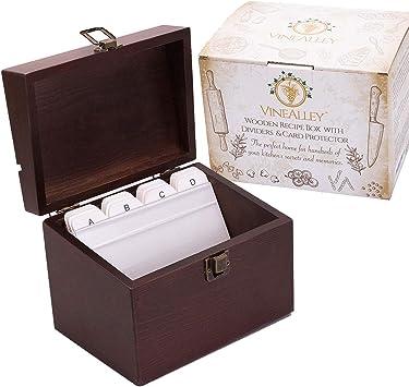 Amazon.com: VINEALLEY Caja de recetas de madera vintage ...