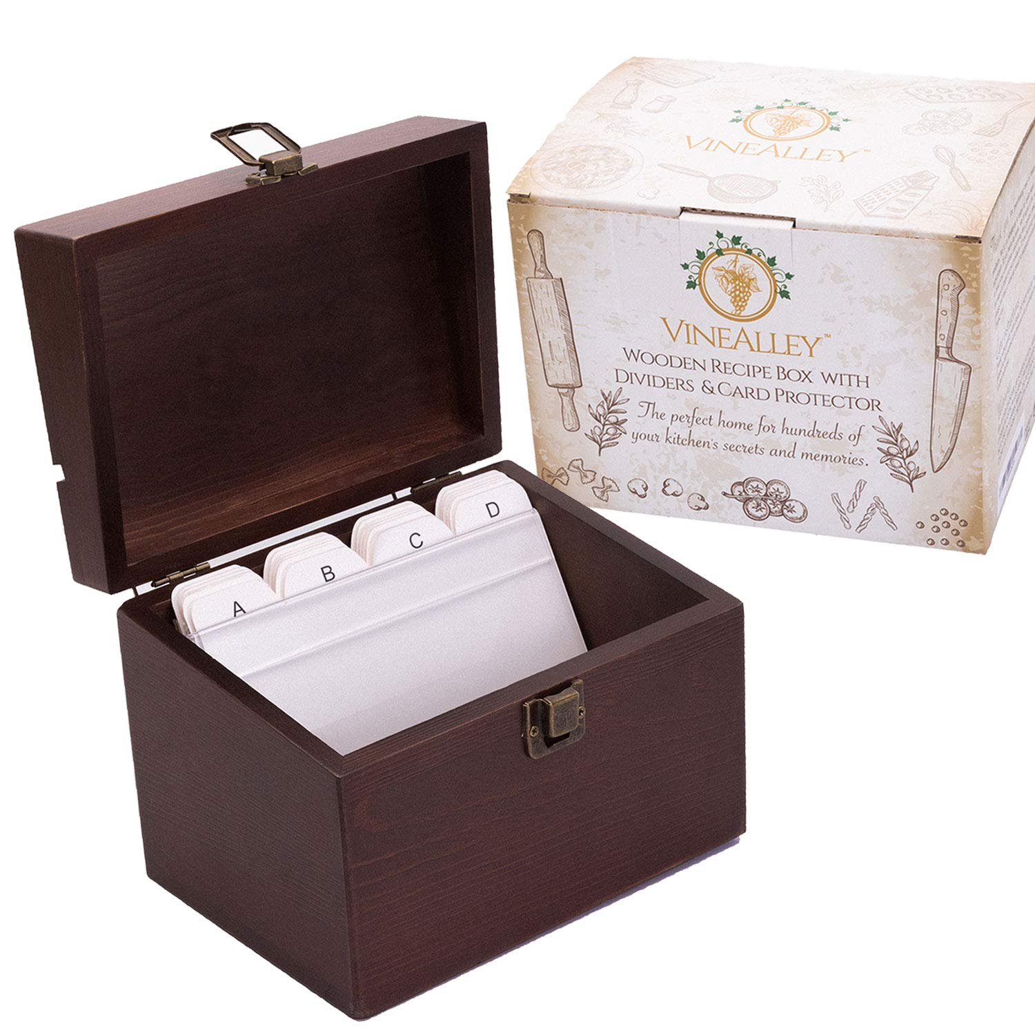 VINEALLEY Handcrafted Vintage Wood Recipe Box with 4x6 Recipe Cards Dividers & Kitchen Recipe Holder Groove & Card protector, Large Recipe organizer box, 300+ Recipe & index cards Storage, Gift Box by VineAlley