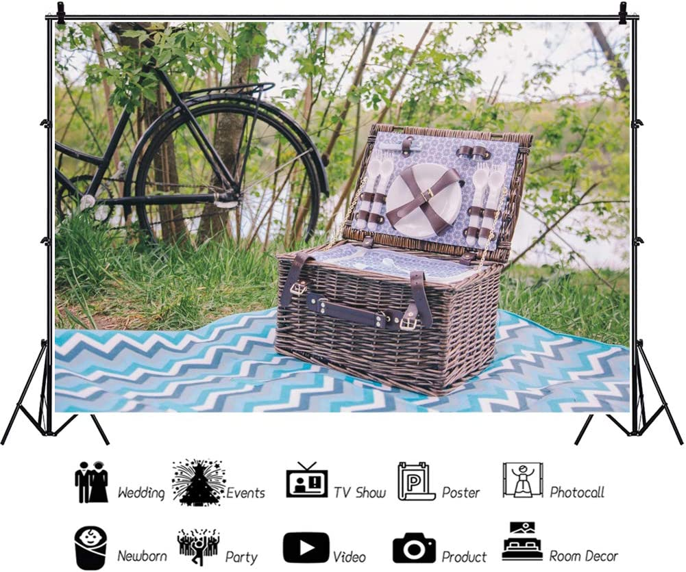 AOFOTO 10x8ft Riverside Picnic Backdrop Spring Outdoor Activity Woods Bicycle Picnic Basket Corrugated Tablecloth for Couples Family Kids Dinner Portrait Photoshoot Studio Prop Artistic Photos Vinyl
