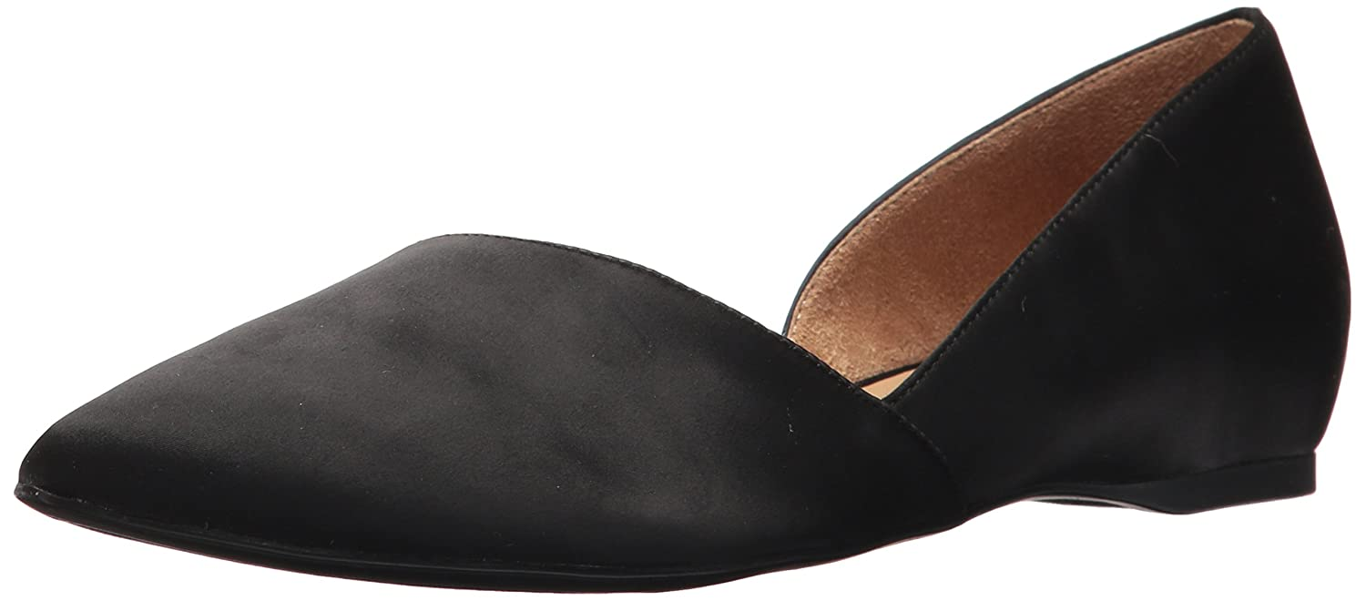 Black satin Naturalizer Women's Samantha Pointed Toe Flat