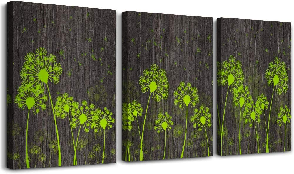 Dandelion Flower Canvas Wall Art for Bedroom Bathroom Decoration 3 Piece Framed Prints Artwork Black wood grain green Flower Simply Style Picture for Home Decorations Living Room Wall Decor 12x16