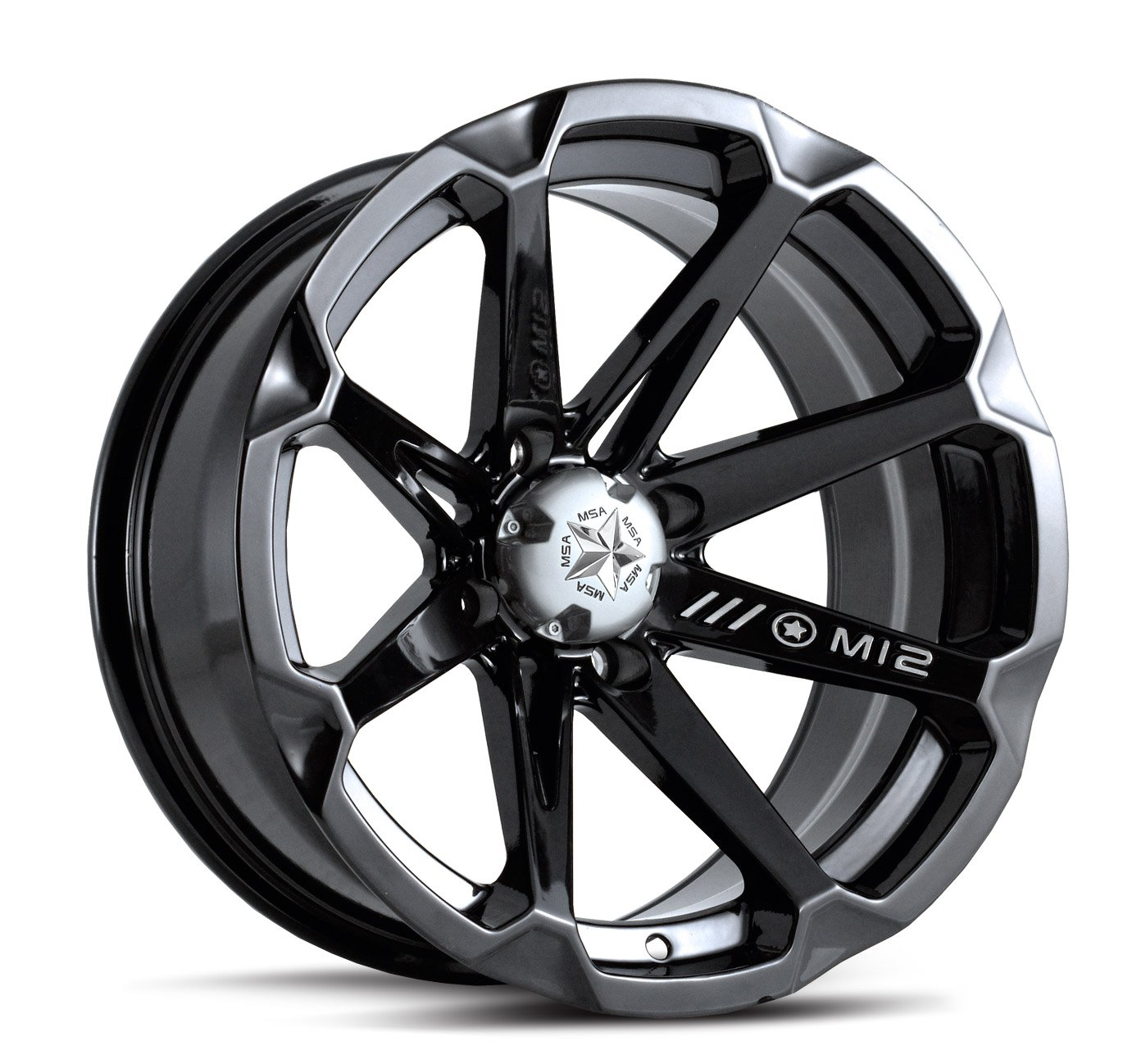 MotoSport Alloys M12 Diesel Gloss Black ATV Wheel UTV Wheel (14x7/4x137)