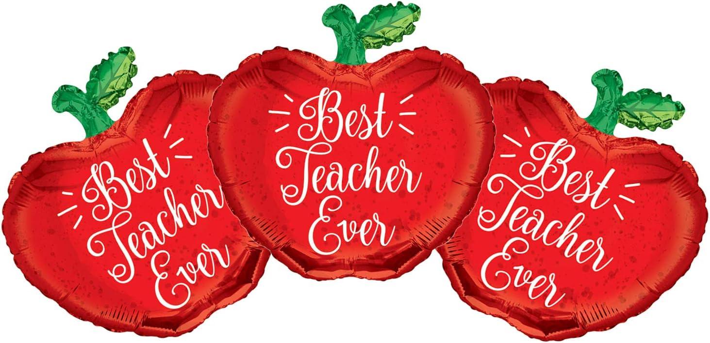 Set of 3 Best Teacher Ever Red Apple 18