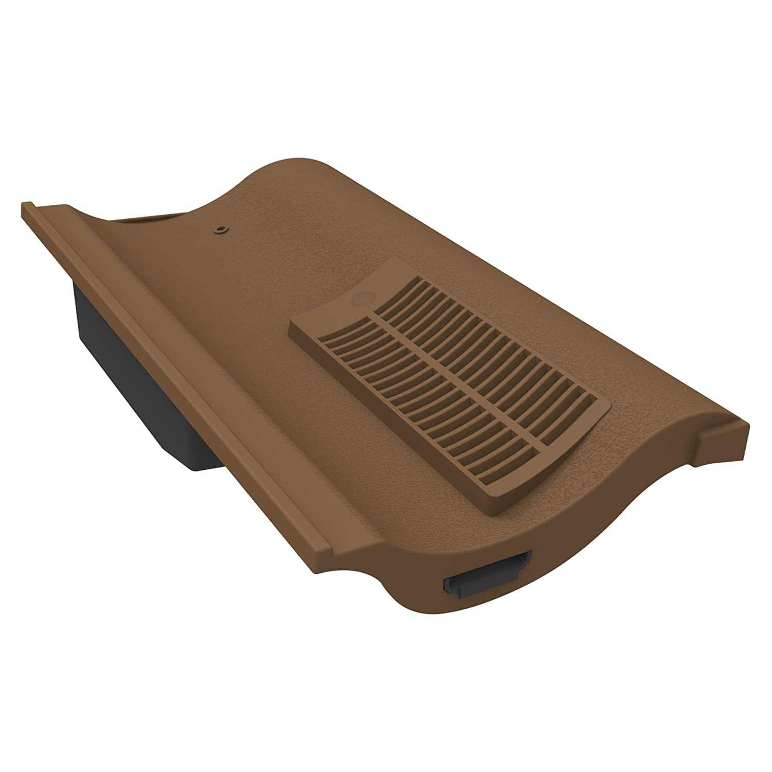 Manthorpe Single Pantile Roof Tile Vent with Pipe Adaptor to Fit Marley Anglia, Redland Fenland, Sandtoft Shire, Brown Textured Finish