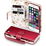 iPhone 6 Case, Terrapin [Floral Interior] Premium PU Leather Wallet Case with Card Slots, Cash Compartment and Detachable Wrist Strap for iPhone 6 (Red with Floral Interior)