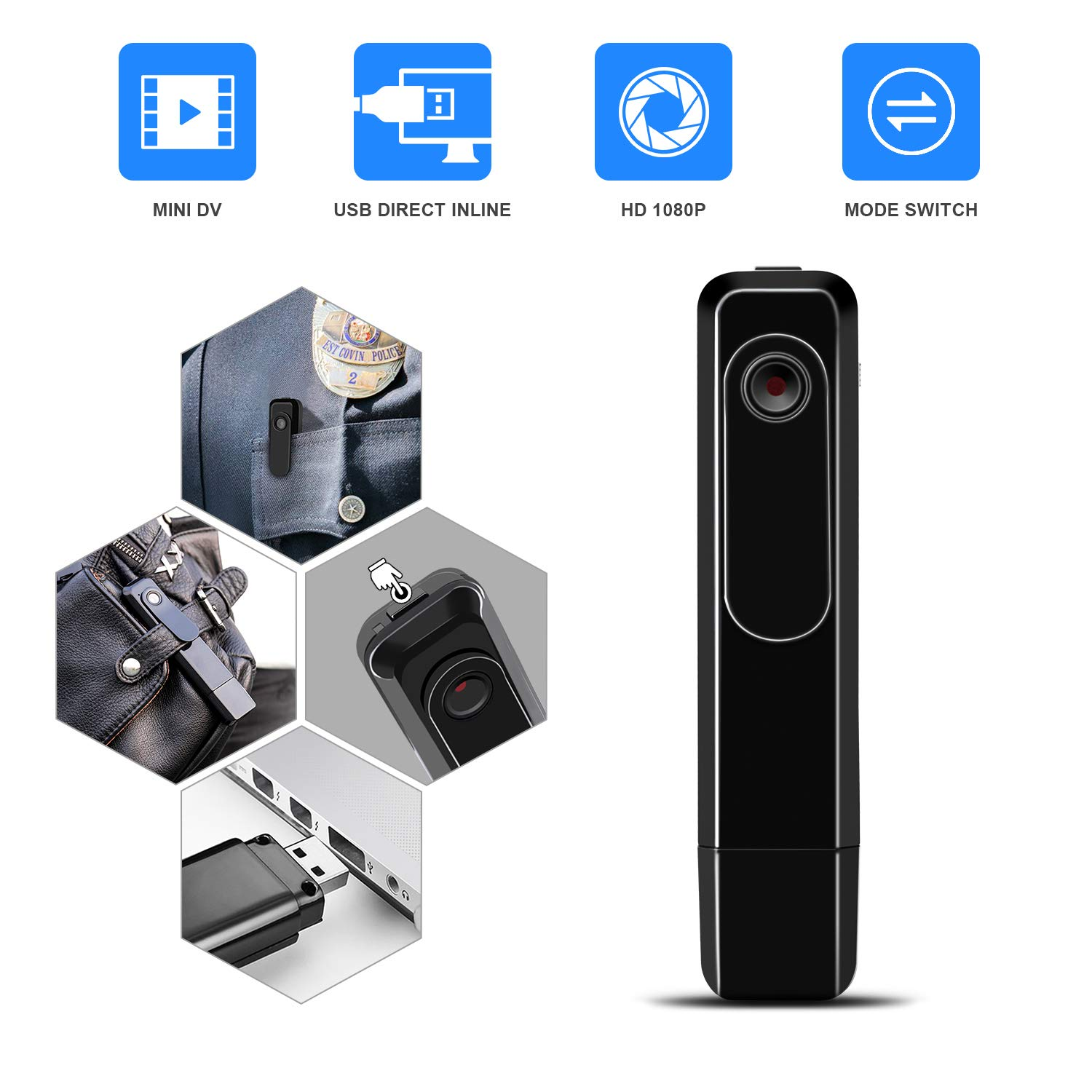 Mini Body Camera with USB Port DZFtech Body Spy Cam HD 1080P Wireless Portable Hidden Spy Pen Body Cameras Wearable Video Recorder with Clip Body Camera Easy to Record for Home/Office by DZFtech