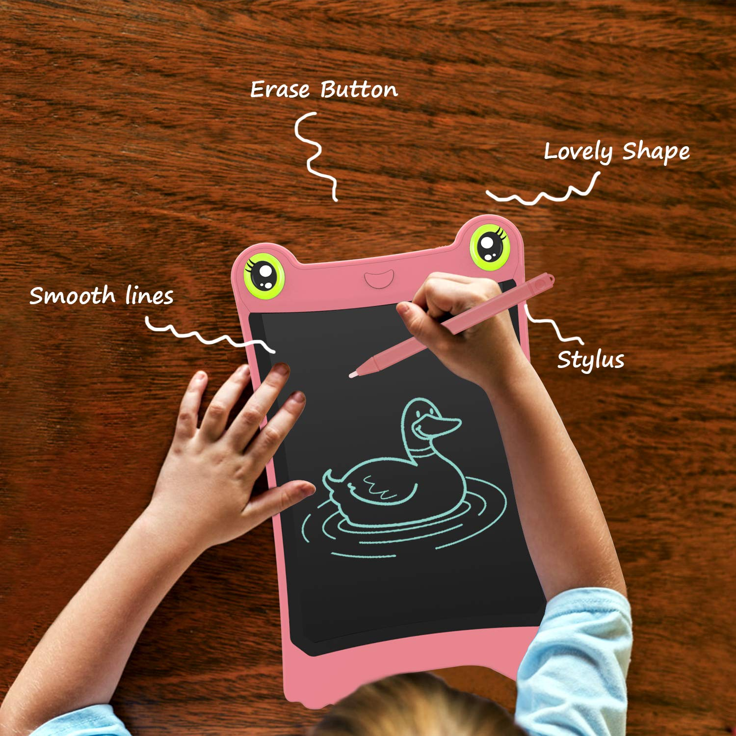 NEWYES 8.5 Inch LCD Writing Tablet Updated Frog Pad Children Electronic Doodle Board Jot Digital E-Writer Kids Scribble Toy with Lock Function Pink by NEWYES (Image #3)