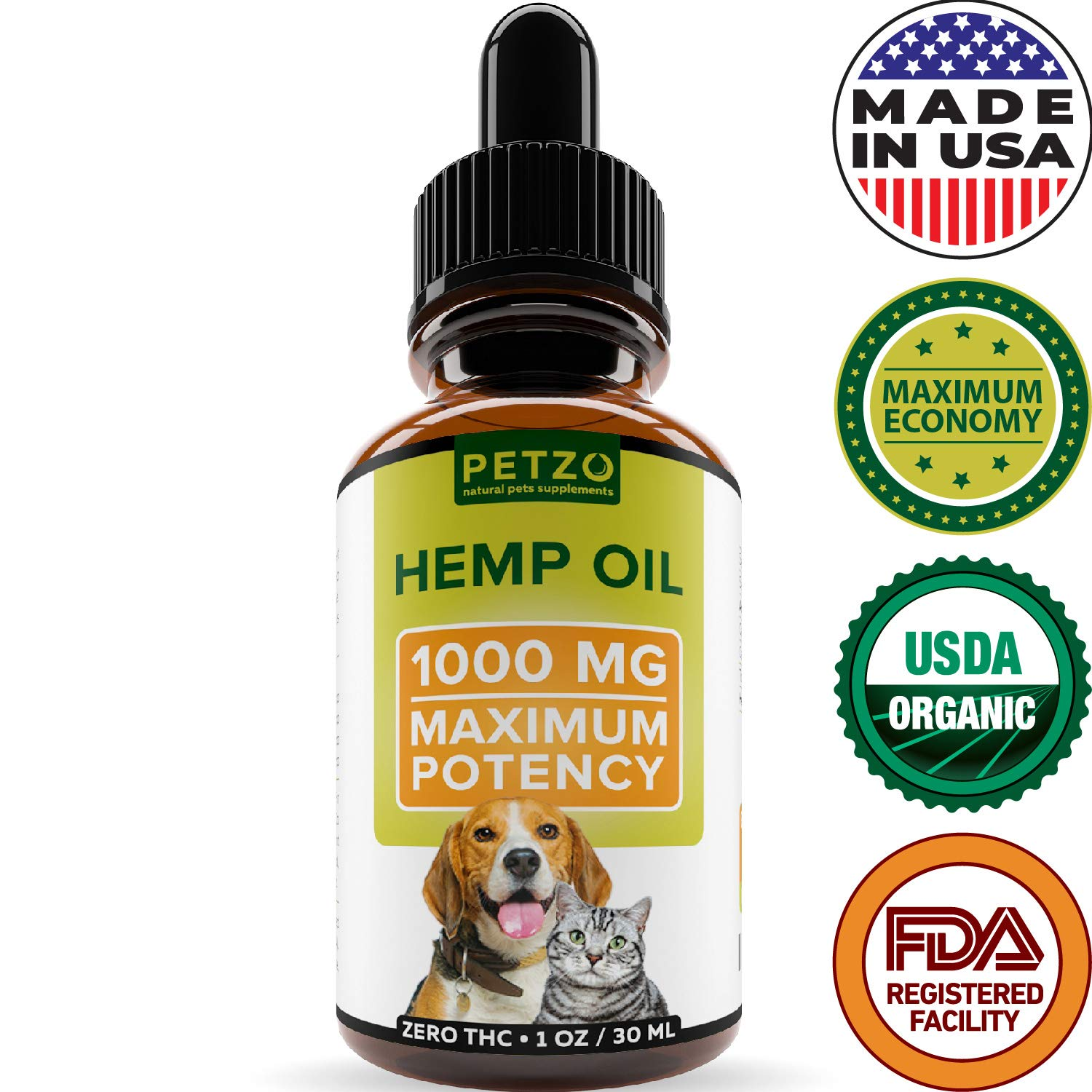 Full Spectrum Hemp Oil for Dogs and Cats - 1000 mg - Supports Hip & Joint Health, Natural Relief for Pain, Anxiety & Separation - 100% Pure Organic Hemp Extract - Non-GMO - Easily Apply to Treats