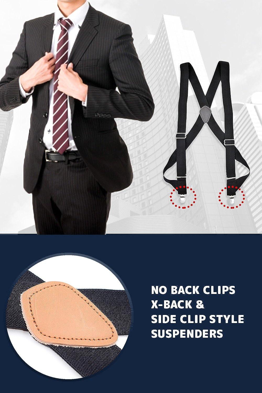 Laquest Side Clip Suspenders X-back 1 1//2 wide Adjustable
