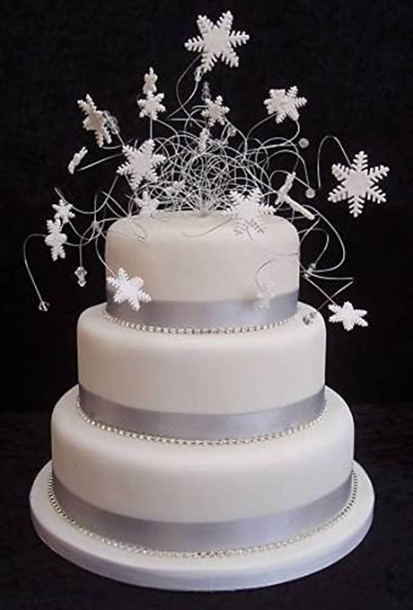 Snowflake Wedding Cake Topper and Diamante Trim Package with Ribbon ...