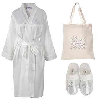Varsany Bata de satén para novia, pantuflas para spa y bolsa de tela personalizable, con estrás, ideal como regalo para despedida, boda, etc.