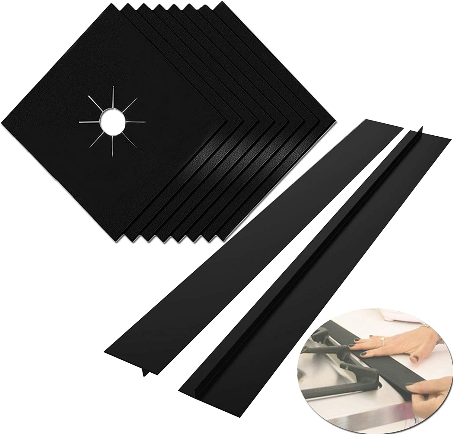 Circular 6 Pack Gas Stove Burner Covers-Upgraded Thicken Reusable Non-Stick Stove Burner Liners,Include stove brush,Circular