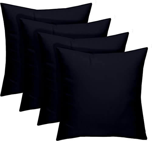 Resort Spa Home Decor Set of 4 – Indoor Outdoor 17 Square Decorative Throw Toss Pillows – Solid Navy