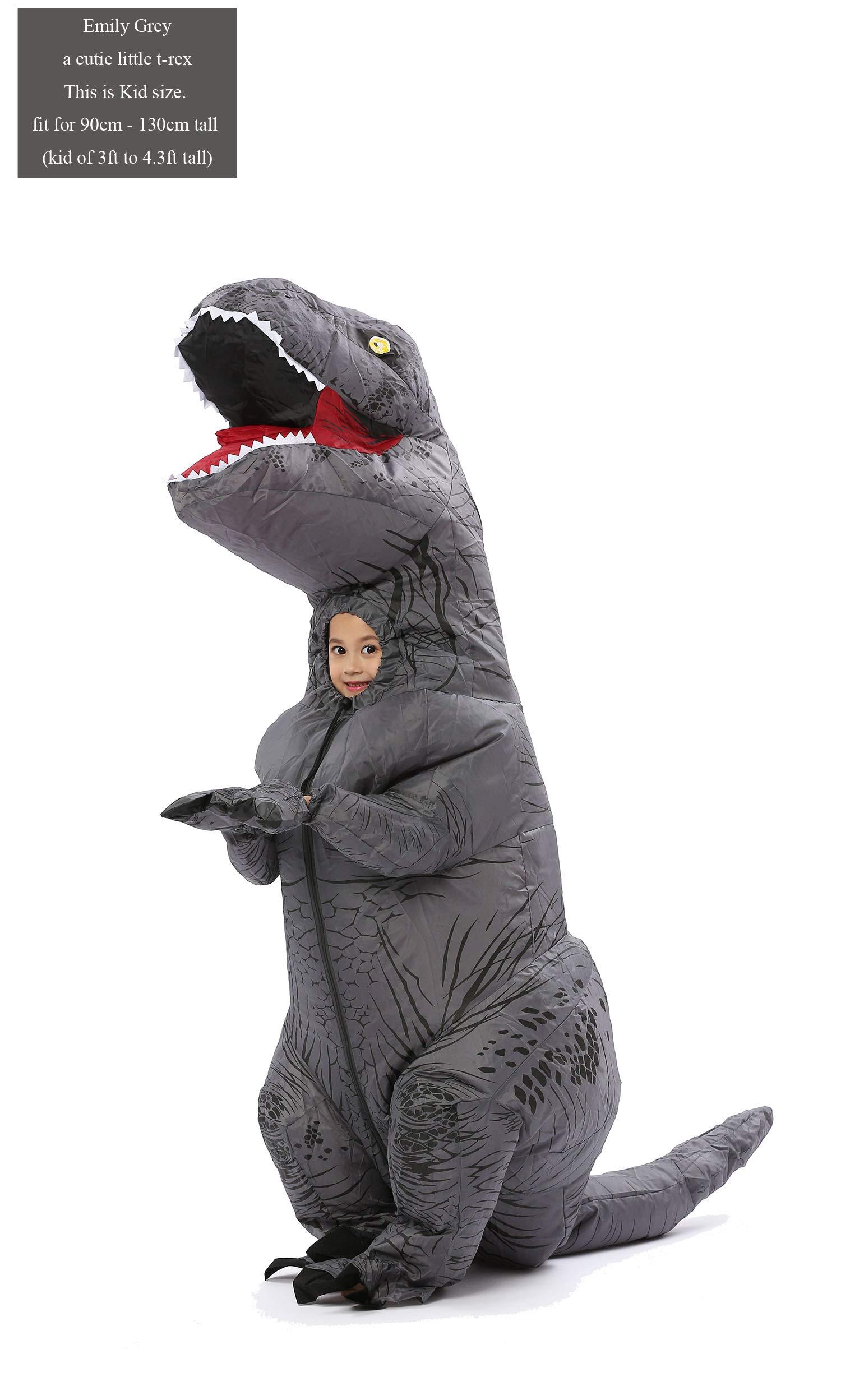 GOPRIME T Rex Costume, Dino Theme Party Dress, Dinosaur Costume (Grey Kid)