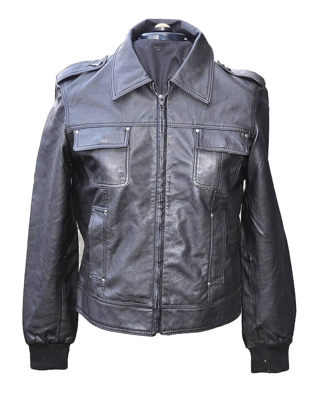 Herren Lederjacke Leder Bikerjacke Jacke extra weich Kunstleder 2L6