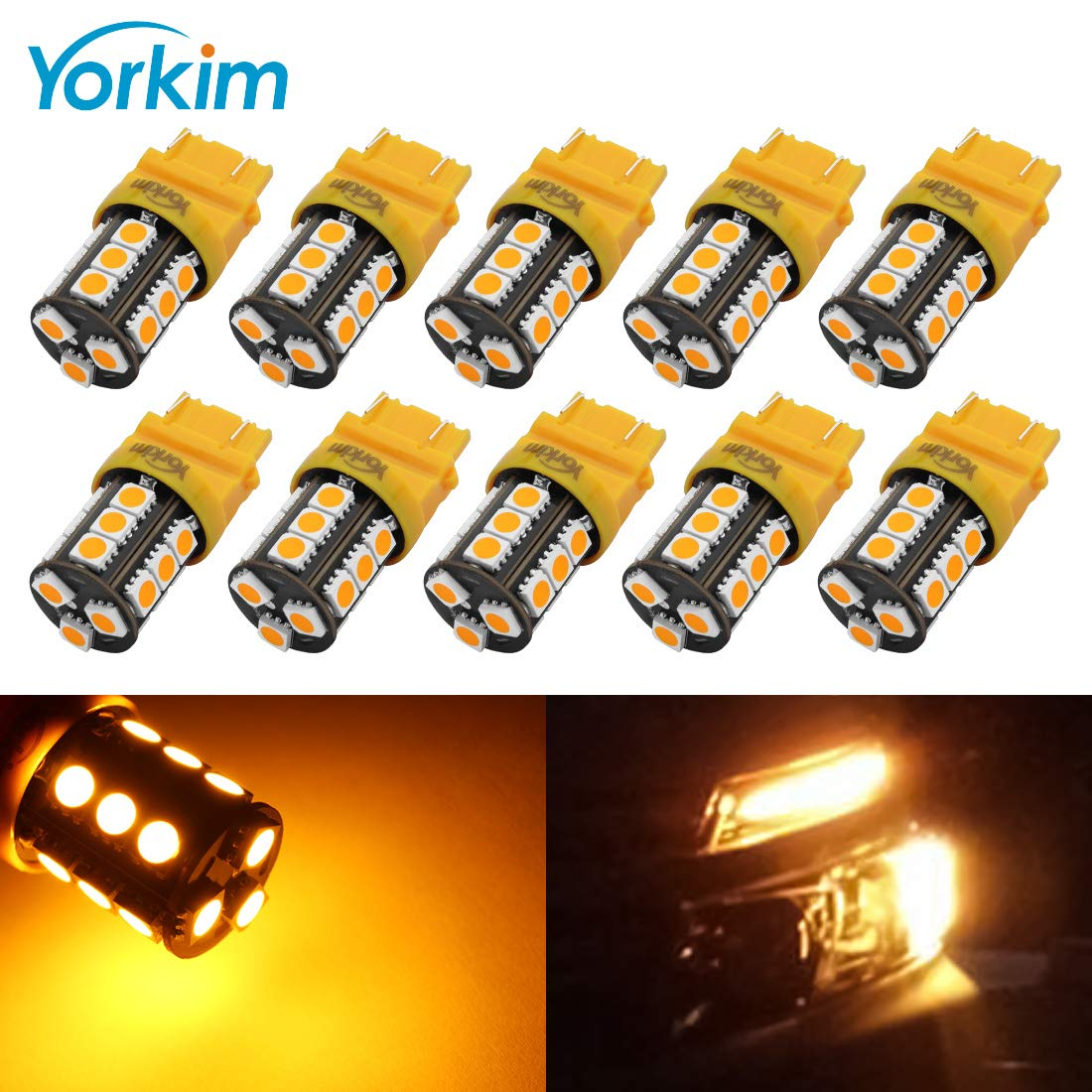 Yorkim Super Bright 3157 LED Light Bulbs Amber Pack of 10, 3157 LED Brake Lights, 3157 LED Backup Reverse Lights, 3156 LED Reverse Tail Lights, Turn Signal Led - 3056 3156 3057 3157 4157 LED Bulbs by Yorkim