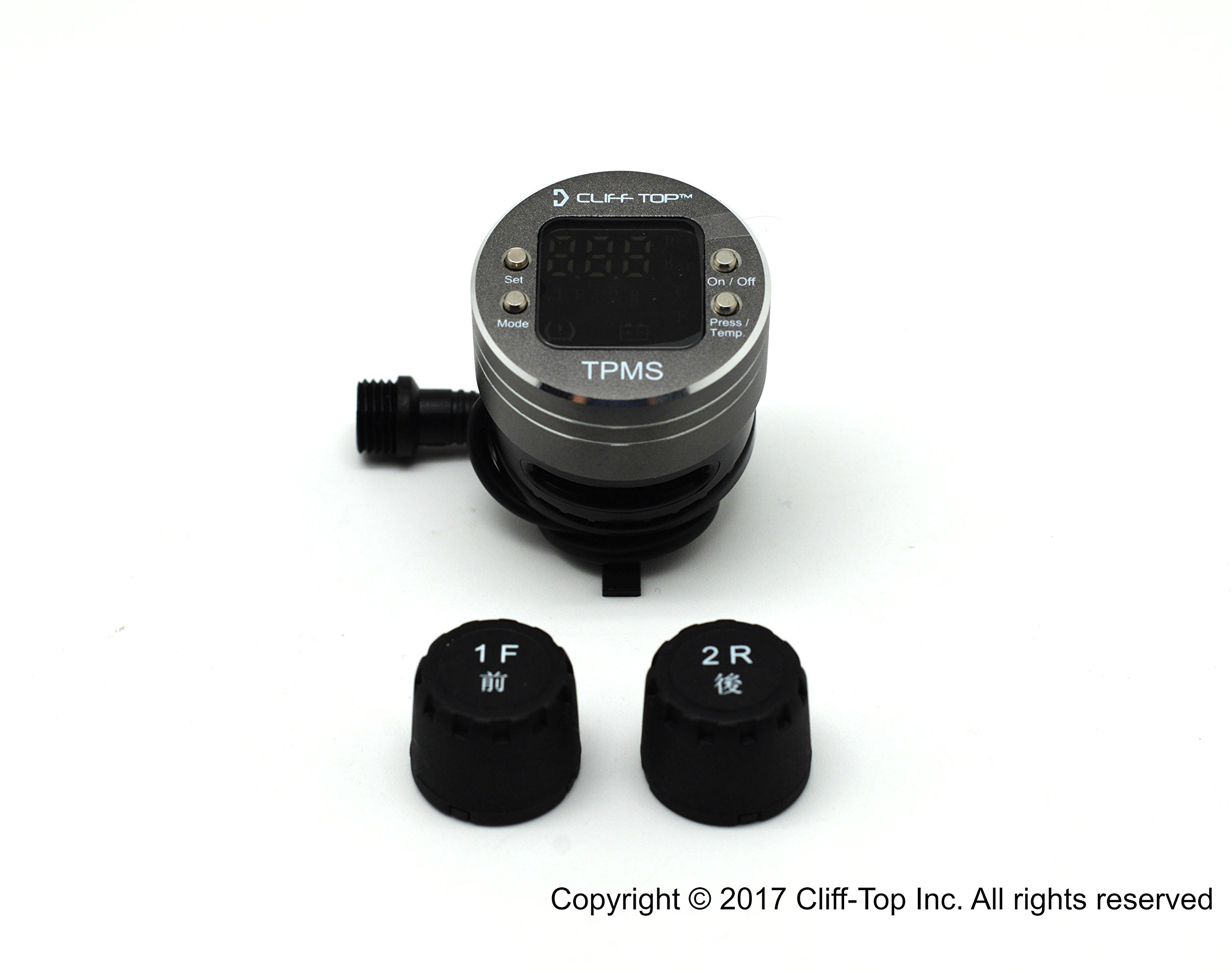 Cliff-Top Waterproof Motorcycle DIY Tire Pressure Monitoring System (TPMS) with External Sensor LCD Display