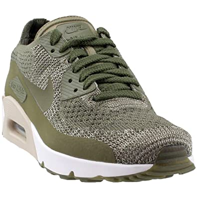 meet 1a2d7 1a824 Nike AIR MAX 90 Ultra 2.0 Flyknit Olive Green White Mens Running 875943 200