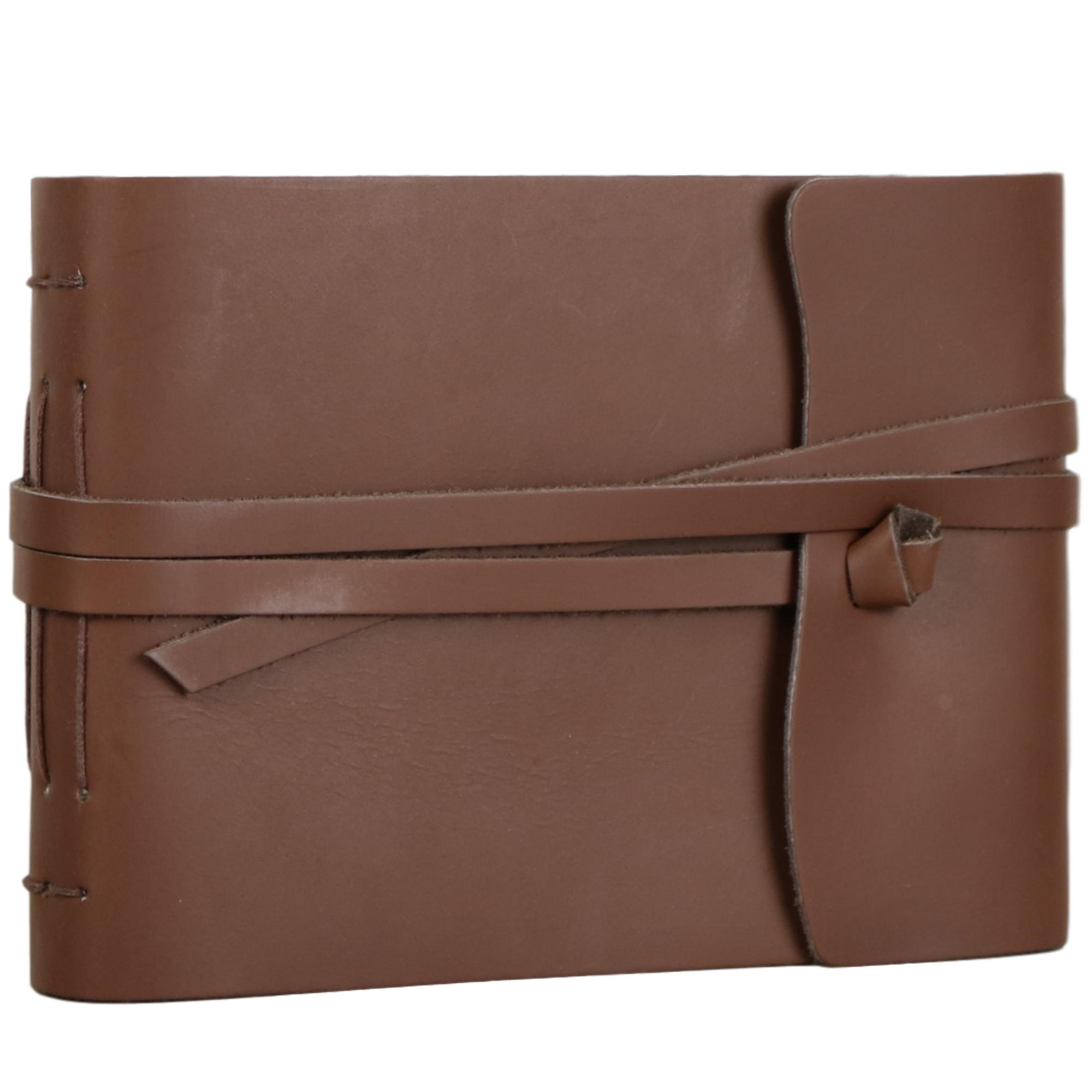 Ferus & Fivel Old Fashioned Leather Bound Photo Album with Wrap Around Strap 6 X 8 Inches