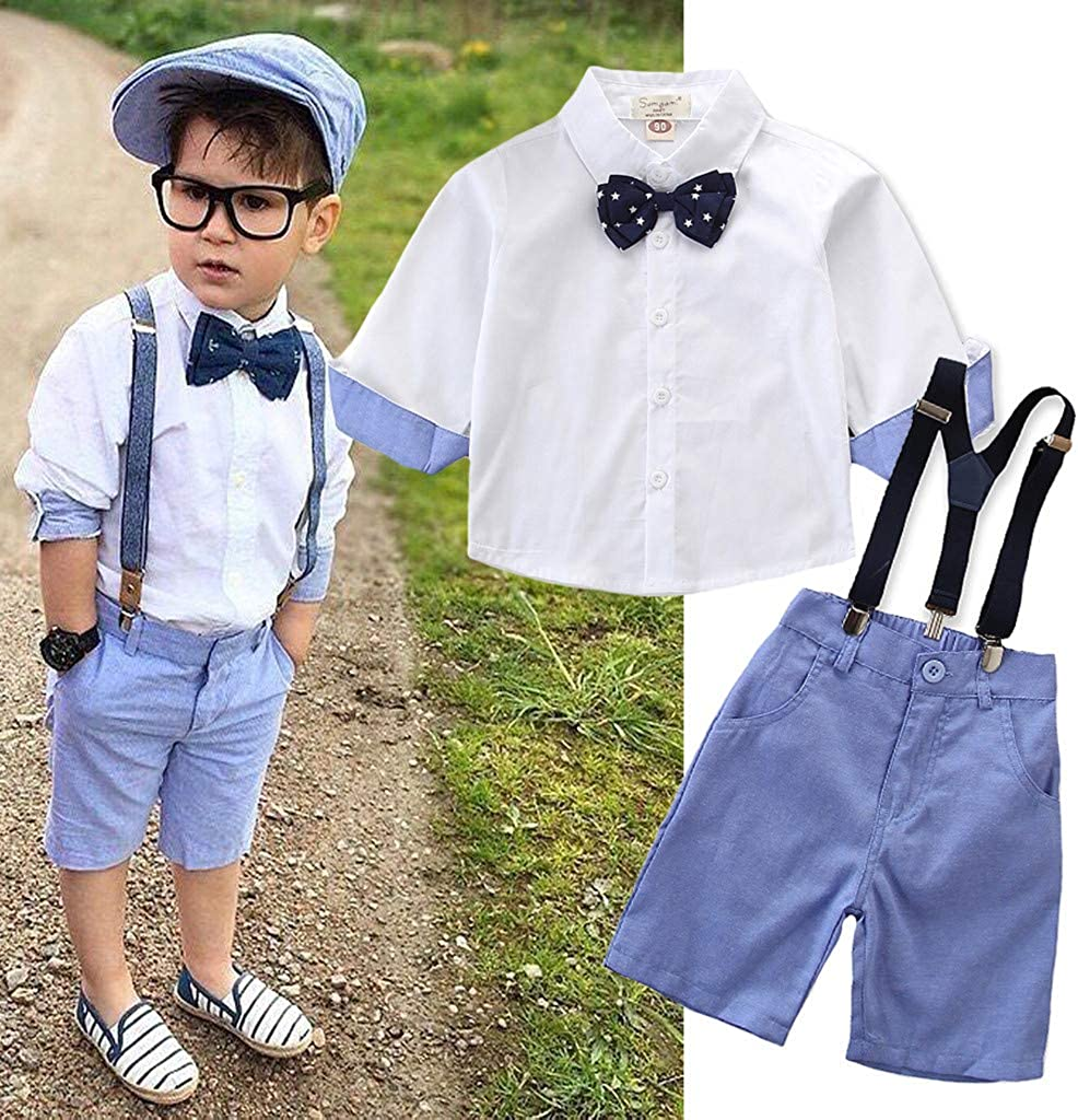 Moonker Easter Outfits Clothes,Toddler Kids Baby Boys Outfit Clothes Shirt+Shorts Pants Gentleman Party Suit Blue