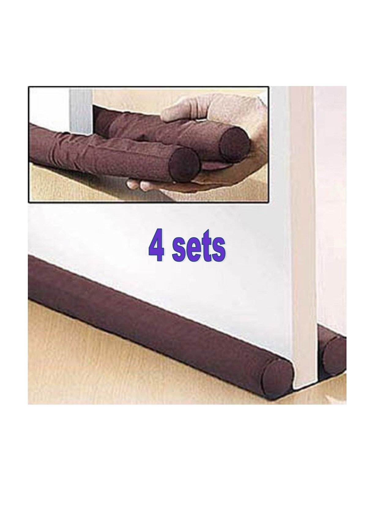 Twin Door Draft Dodger Guard Brown Stopper Energy Saving Door Protection Cold Cover by Rivchell